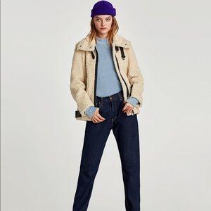 Zara teddy moto coat